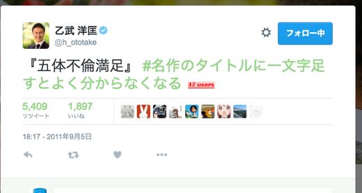 【有言実行】乙武洋匡さん過去に「五体不倫満足!」とツイートしていたことが明らかに!予言か?