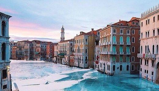 ベニスの運河が凍りついたという写真は「デマ」の可能性